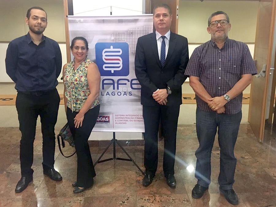 Lucas Petrônio, Rosicleide Lima, Renato Ferreira e Paulo Ramirez integram o Departamento Financeiro do TJ/AL.