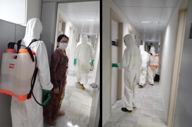 Além da Corregedoria, os militares do Exército também fizeram a higienização da sede do TJAL e do Fórum da Capital. Foto: arquivo pessoal