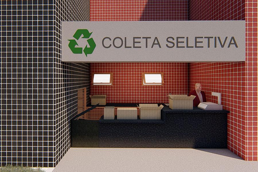 Projeto do novo posto da coleta seletiva, em imagem de computação gráfica produzida pelo setor de arquitetura.