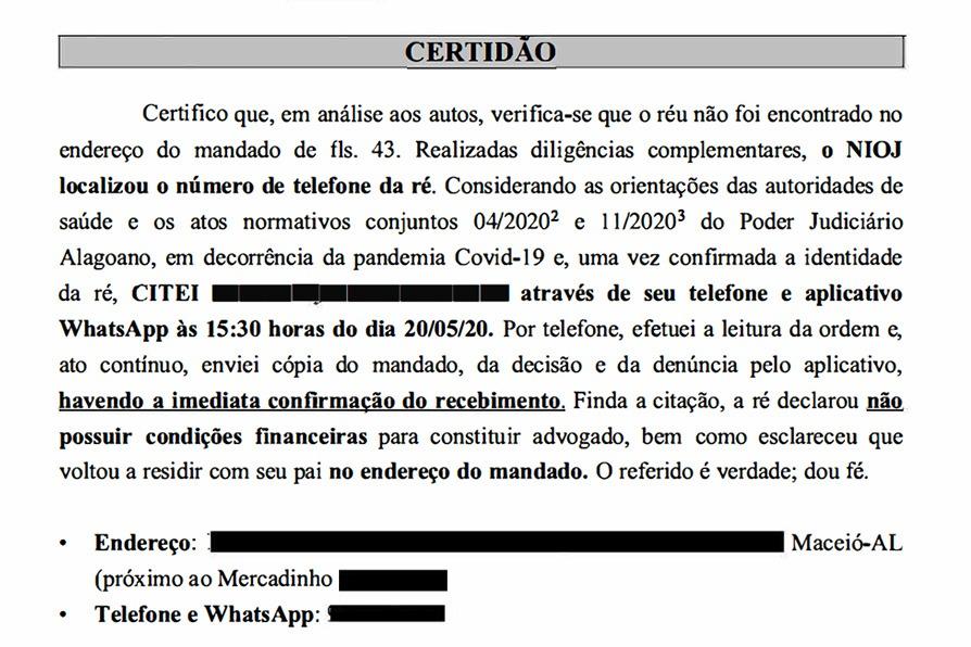Certidão da citação criminal realizada por whatsapp.