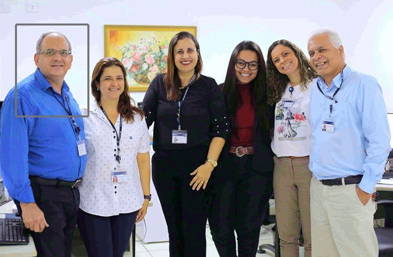 Paulo, Patrícia, Rossane, Anne, Daniella e Hercílio, no setor de Inspeção e Correição da CGJ/AL. Foto: Itawi Albuquerque